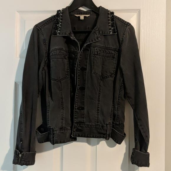 CAbi Jackets & Blazers - CAbi Jeans Black Denim Jacket Beaded Jewel Collar